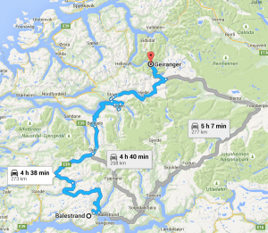 To Geiranger Map Norway itinerary