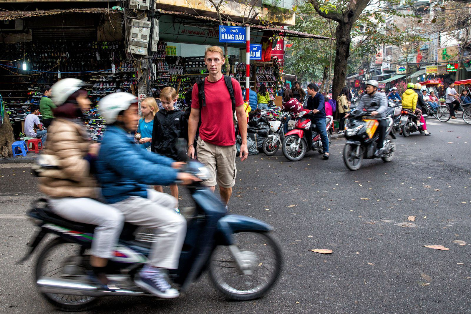 Crossing Street in Hanoi