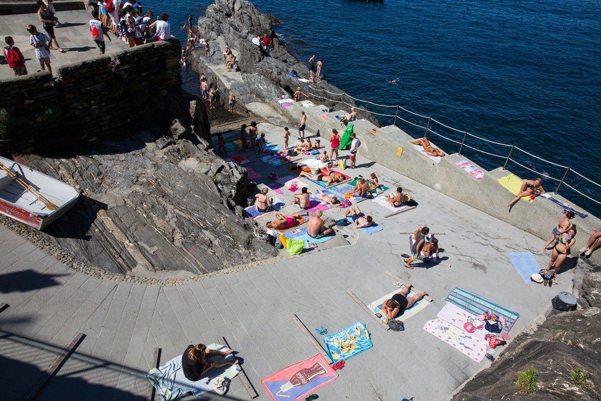 Sunbathers Cinque Terre