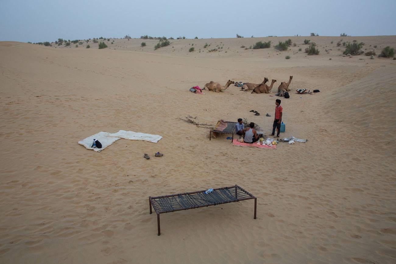 Camping in a desert