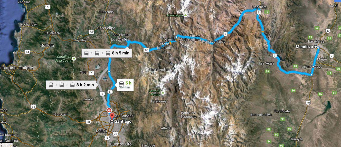 Driving Santiago to Mendoza Map