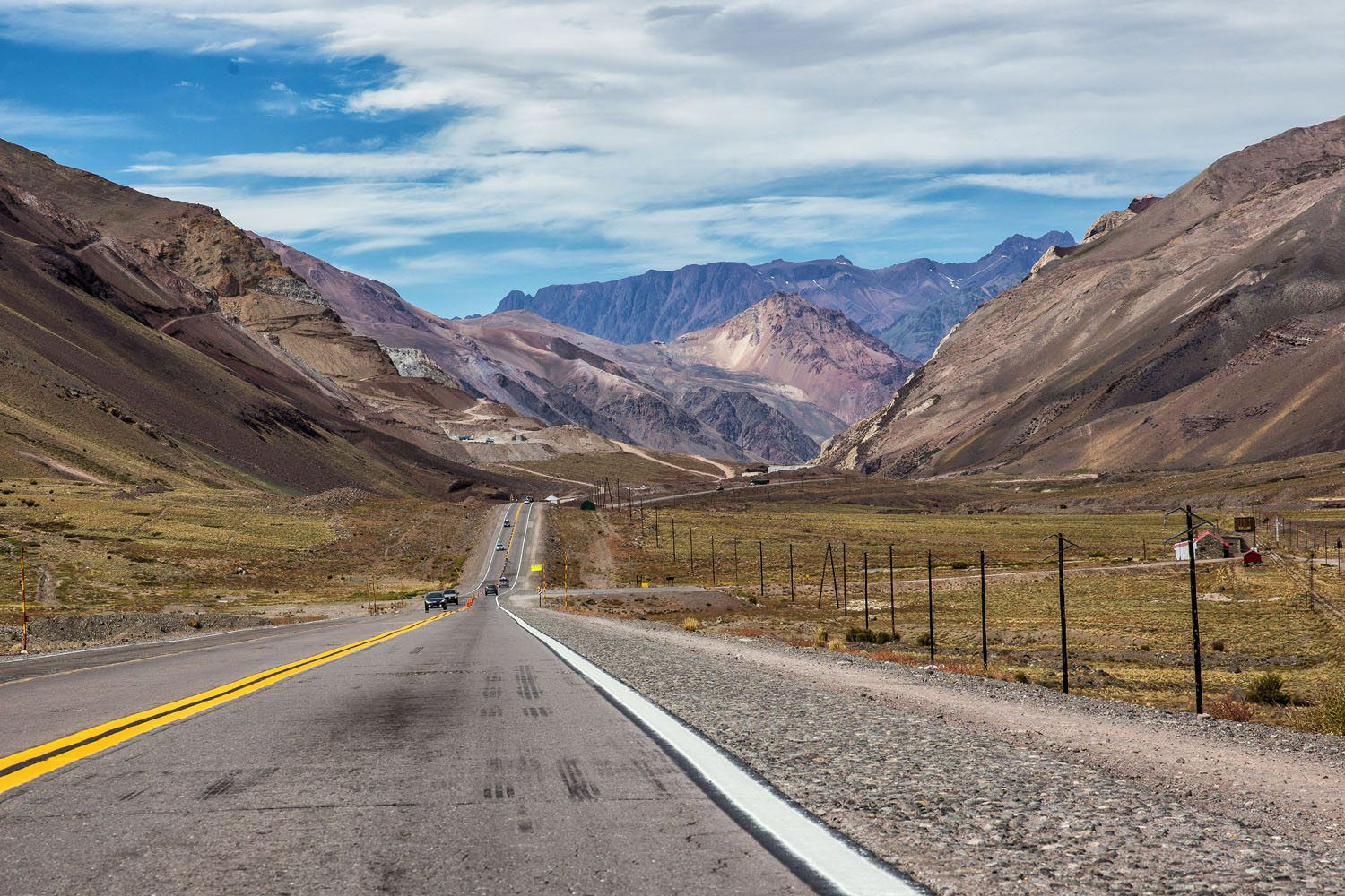 Driving over the Andes Mountains