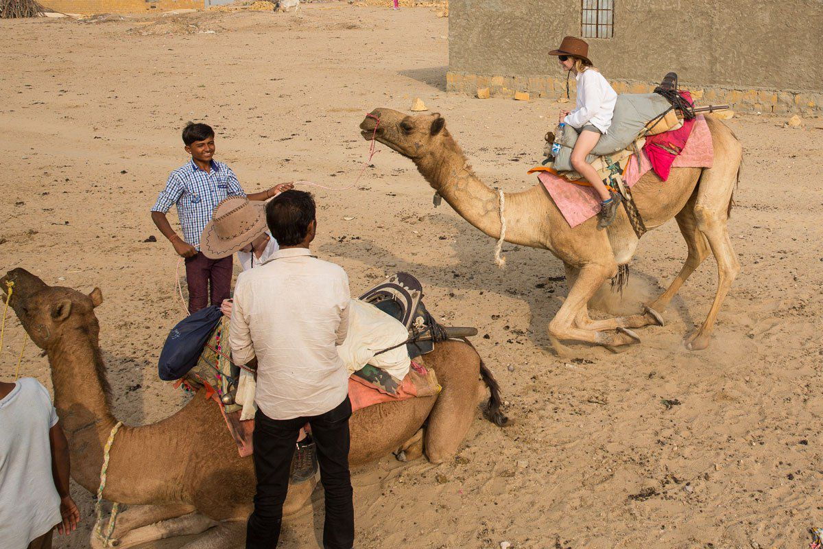 Getting on a camel
