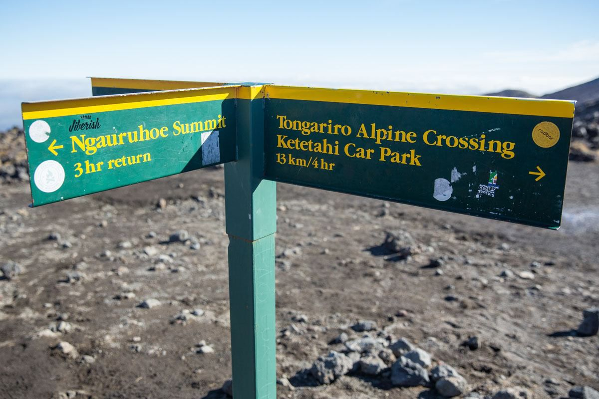 Tongariro Hike Sign