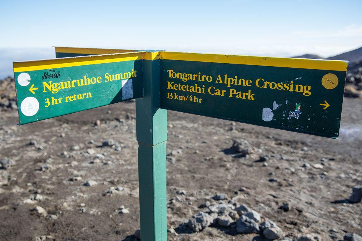 Tongariro Hike Sign