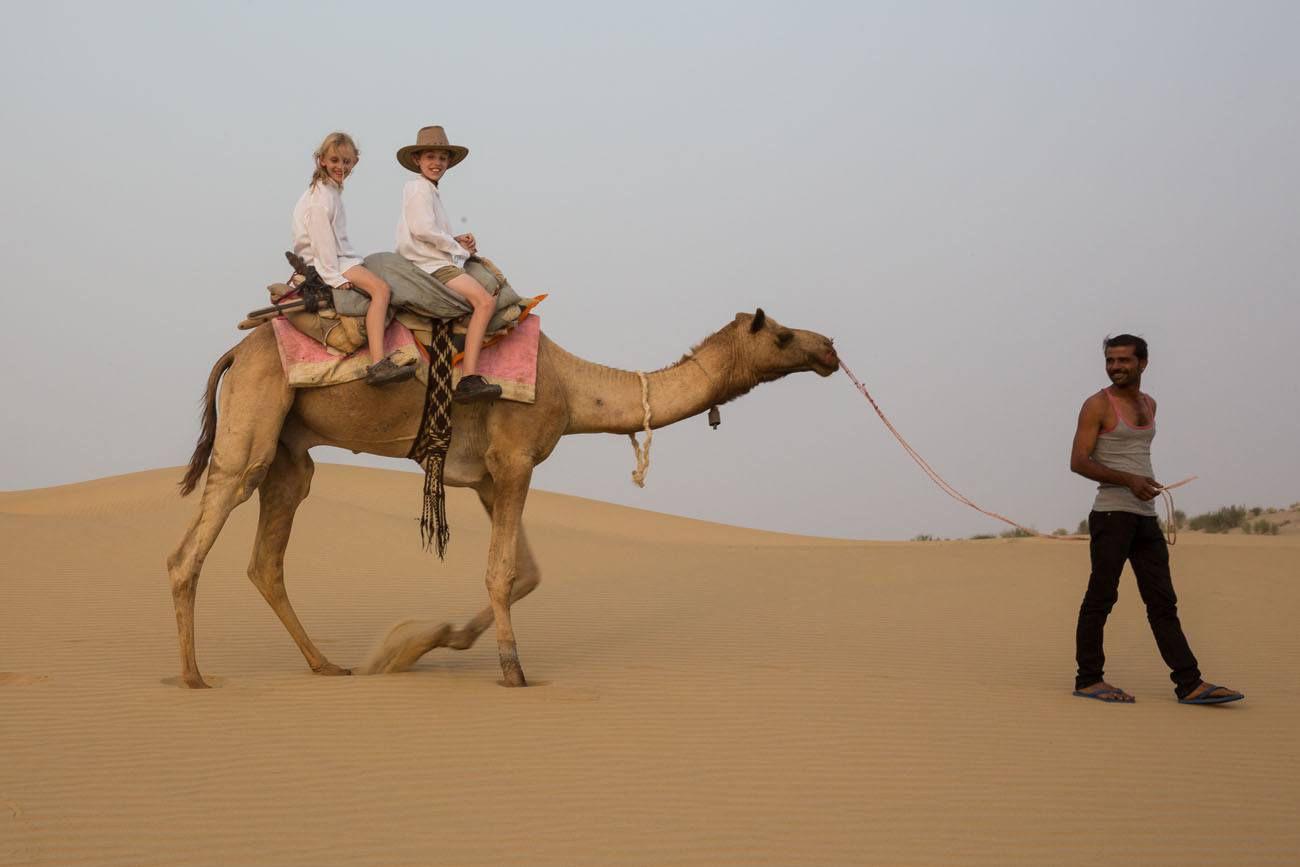 on a camel
