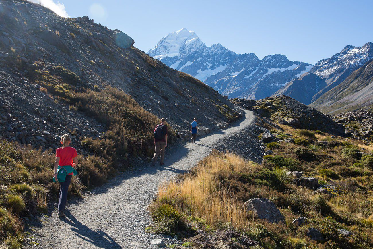 Walking Hooker Valley Track to Mt Cook