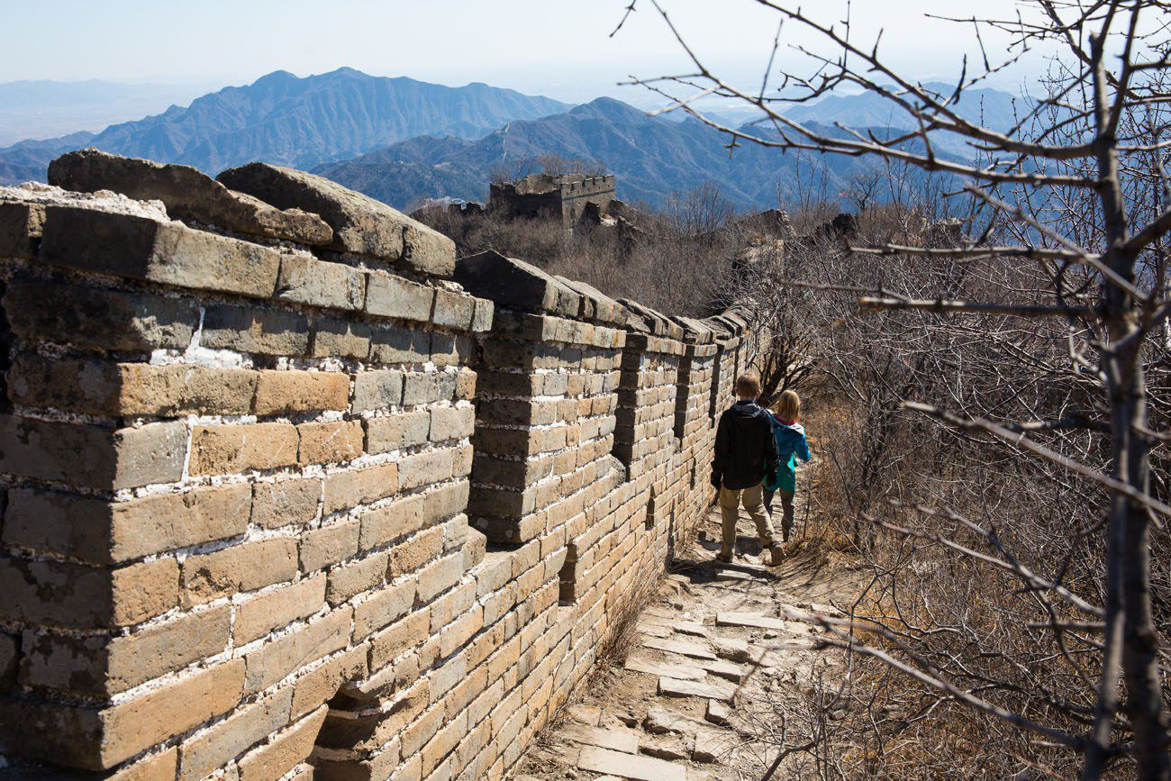 Great Wall Hike unrestored with kids