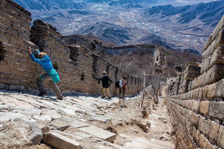 Hiking unrestored Great Wall China