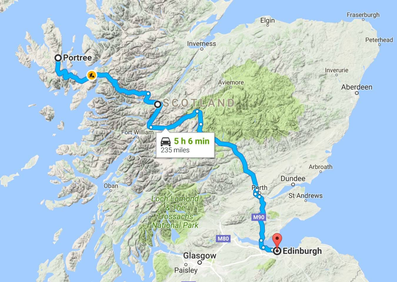 Fort Williams Scotland Map.Driving To The Isle Of Skye From Edinburgh Or Glasgow Earth Trekkers
