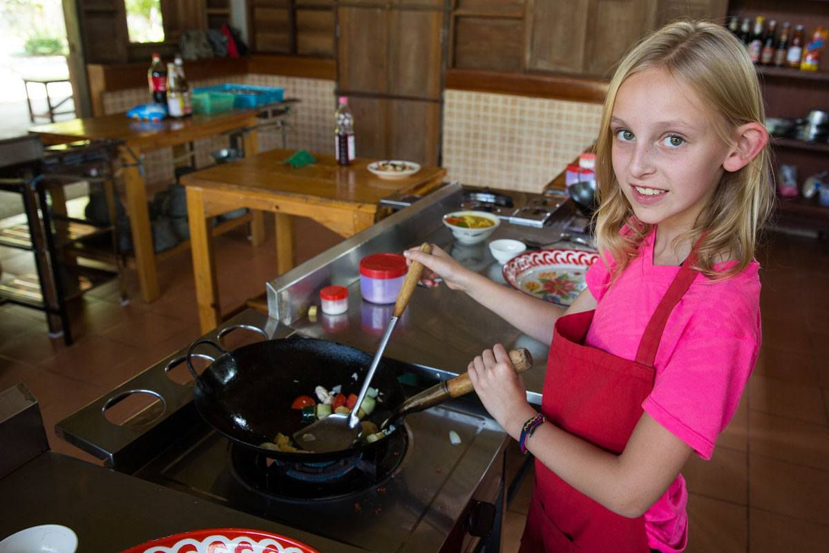 Thai cooking class with kids