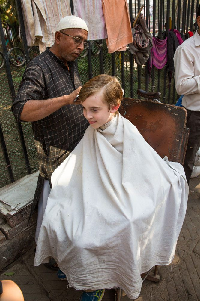 Tyler getting haircut