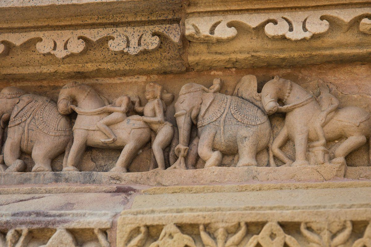 War Elephant Carvings Khajuraho