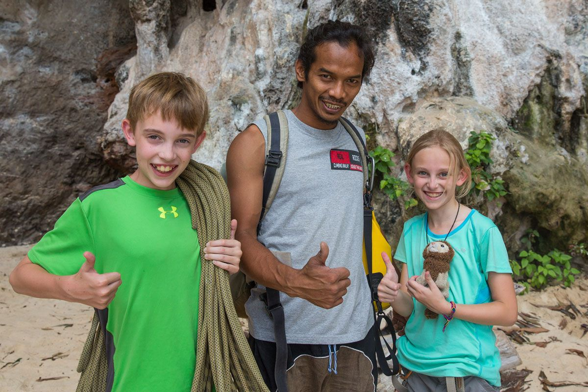 Thailand rock climbing with kids