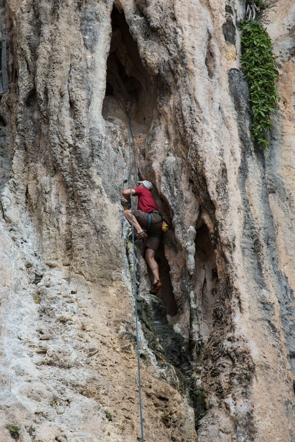 Tim rock climbing