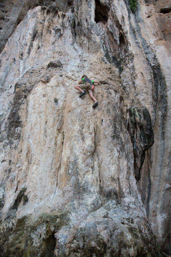 Tyler rock climbing