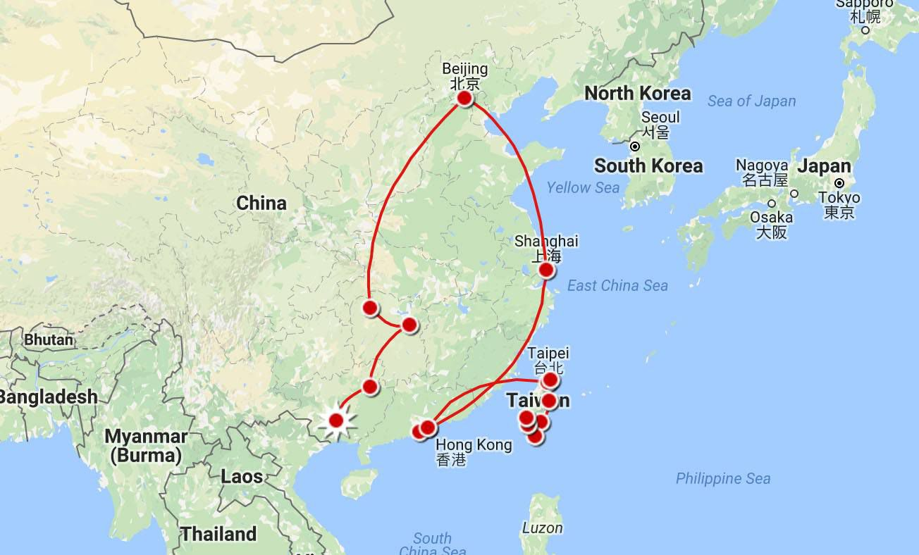 China Itinerary Map