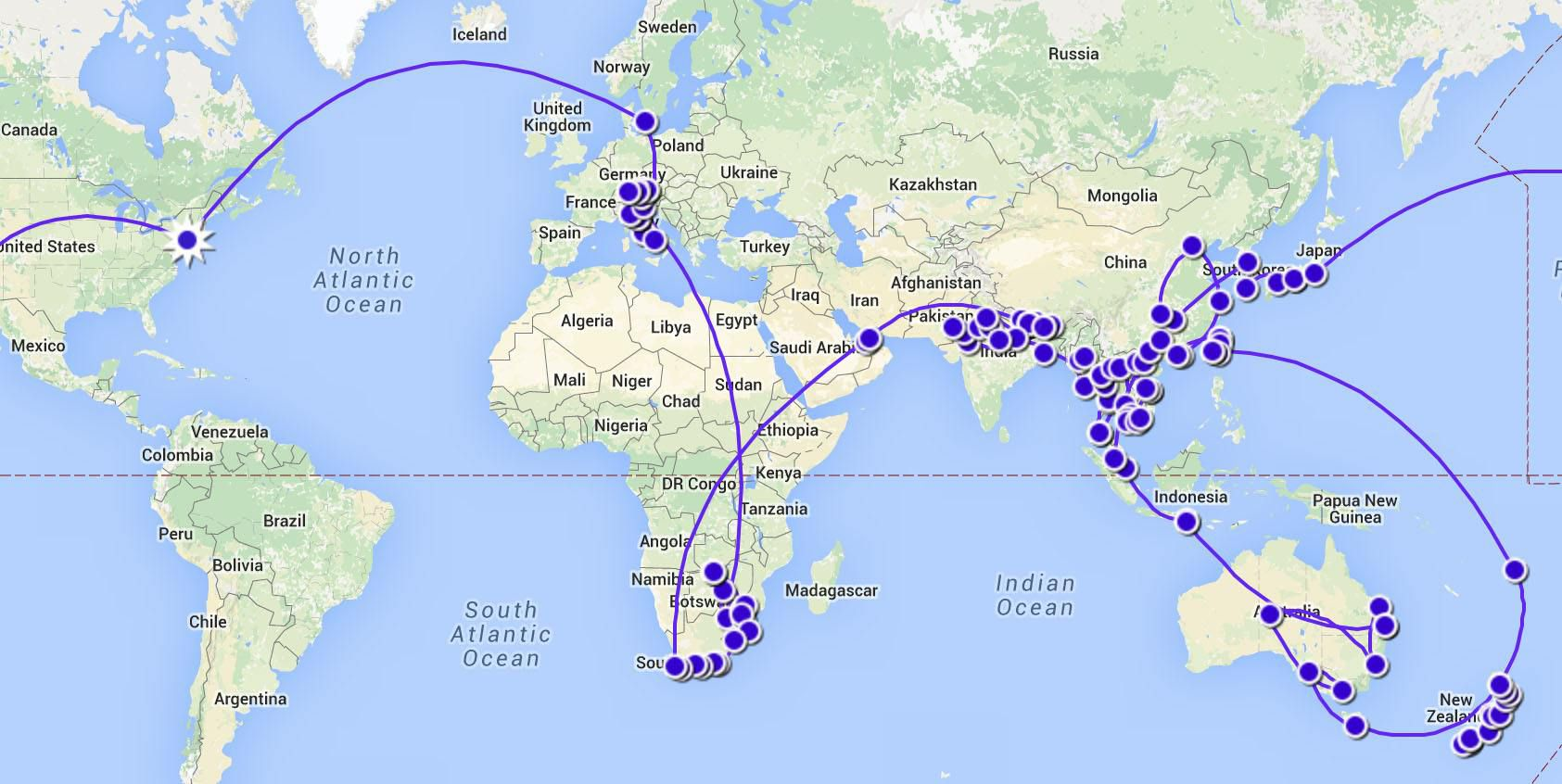 Our Around the World Itinerary Map