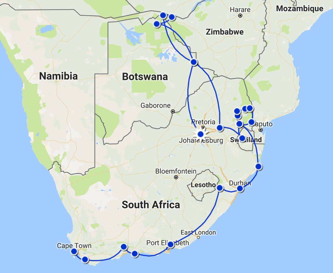 Southern Africa Itinerary Map