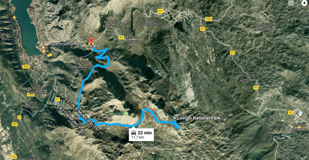 Map to Lovcen