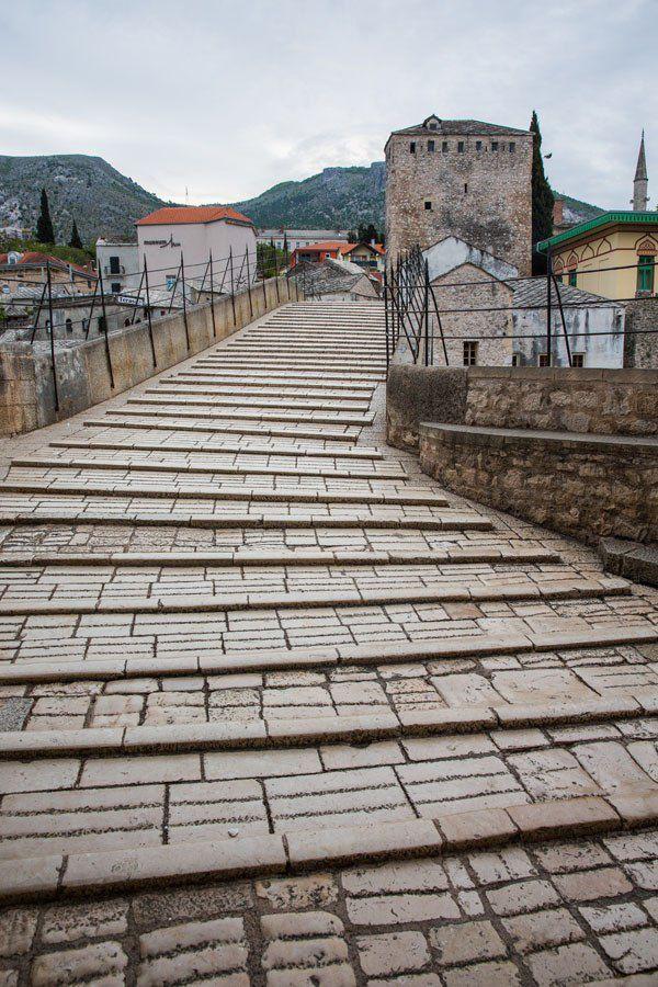 Mostar Bridge can be slippery