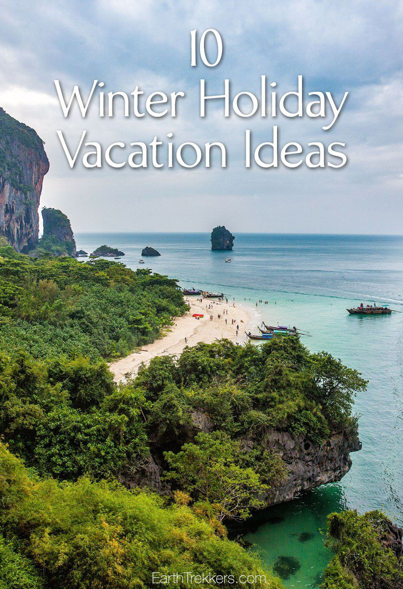 10 winter vacation ideas perfect for planning a trip this holiday season. Napa Valley, San Diego, New Orleans, Key West, Thailand, and Costa Rica.