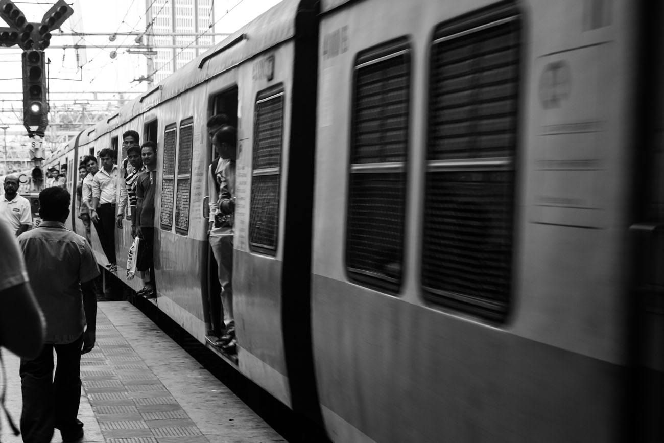 Train black and white