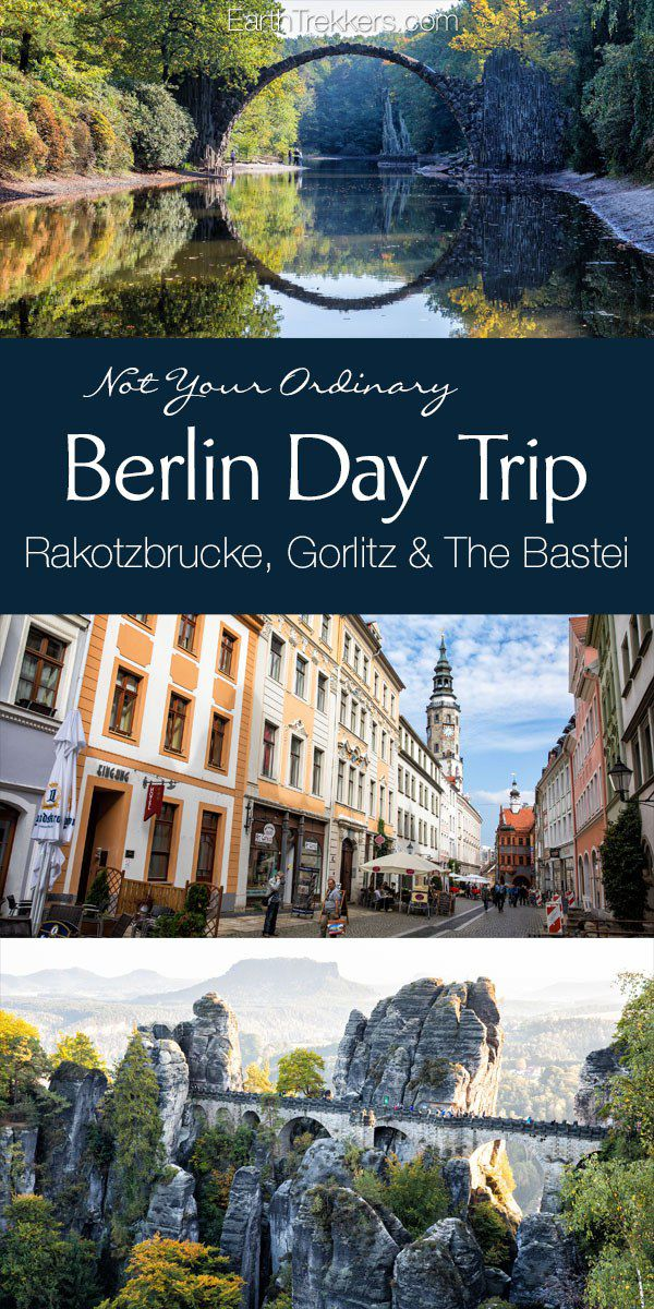 Berlin Day Trip to Rakotzbrucke, Gorlitz, Zgorzelec, and the Bastei (Bastion Bridge). Road trip in Germany with tips for driving the autobahn. #berlin #rakotzbrucke #germany #daytrip