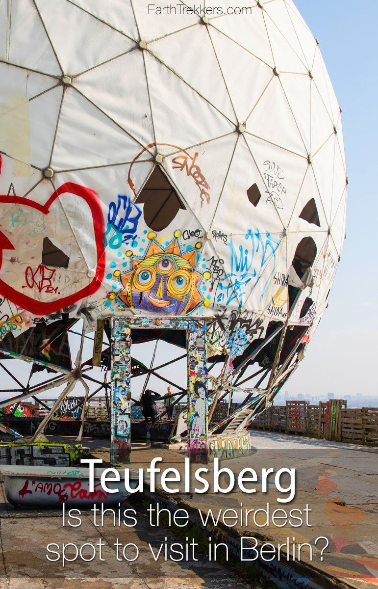 Teufelsberg, Berlin, an abandoned spy station that has been turned into a work of art, graffiti-style. #teufelsberg #berlin #weird #graffiti