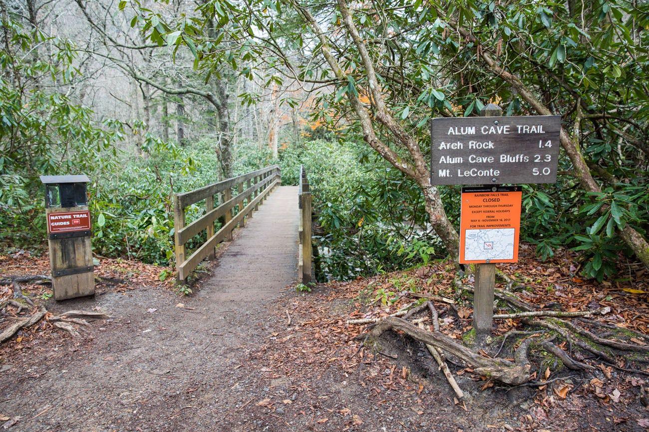 Alum Cave Trail Trailhead