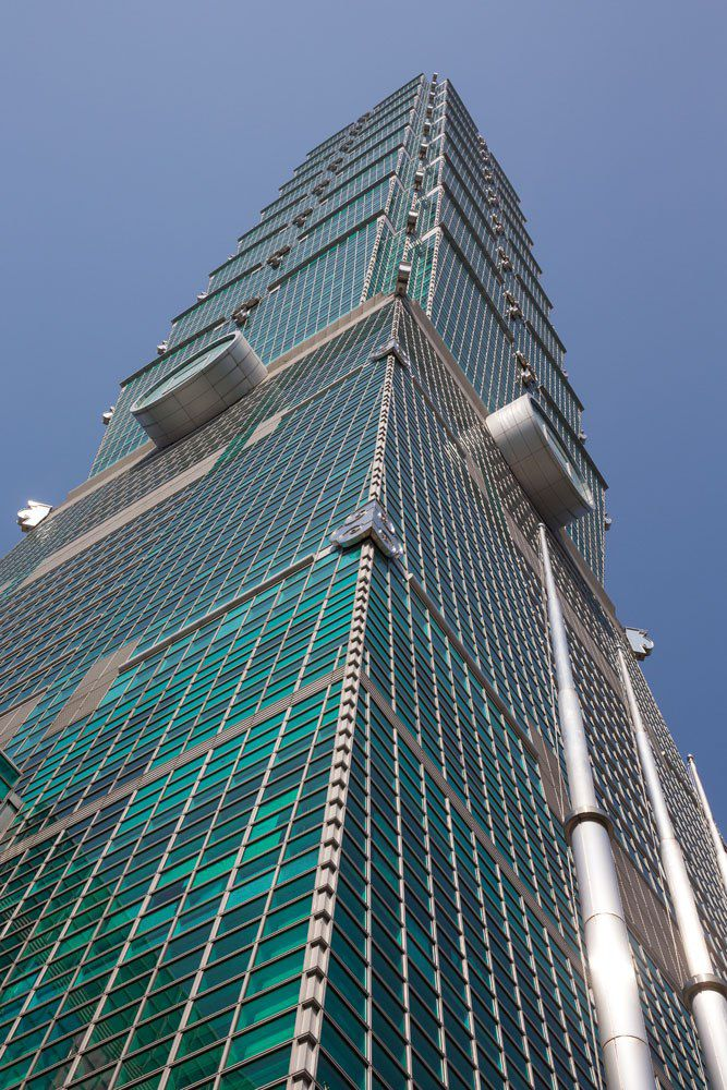 Looking up at Taipei 101