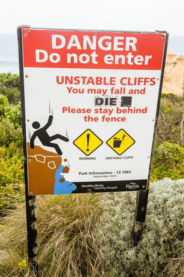Great Ocean Road Warning Sign