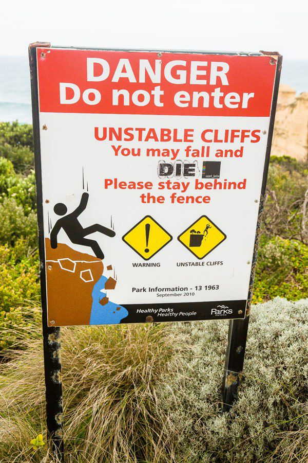 Great Ocean Road Warning Sign