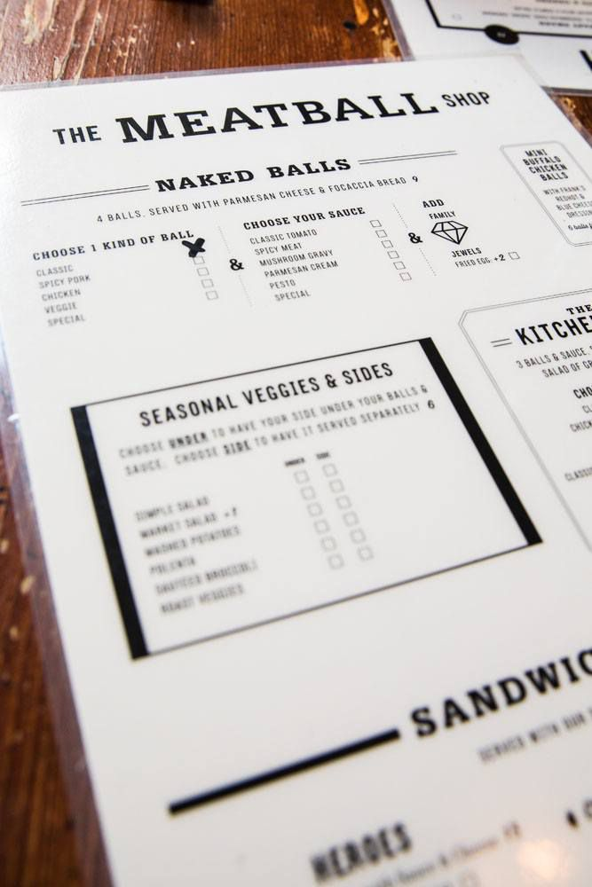Meatball Shop Menu