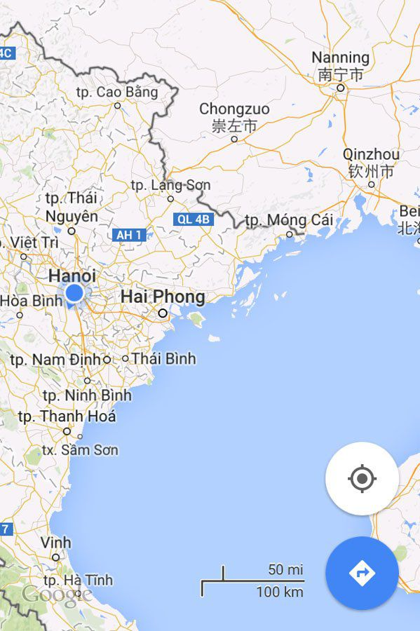 Map Hanoi to Nanning