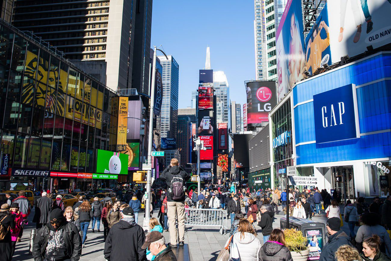 Times Square in February New York City itinerary