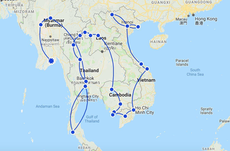 Southeast Asia Itinerary Map