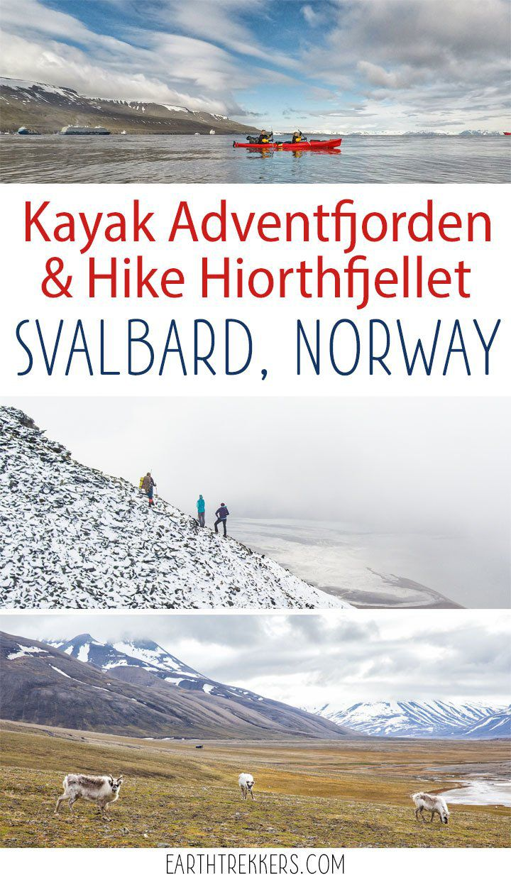Kayak across Adventfjorden and hike to the top of Hiorthfjellet on this awesome one day adventure in Svalbard, Norway.