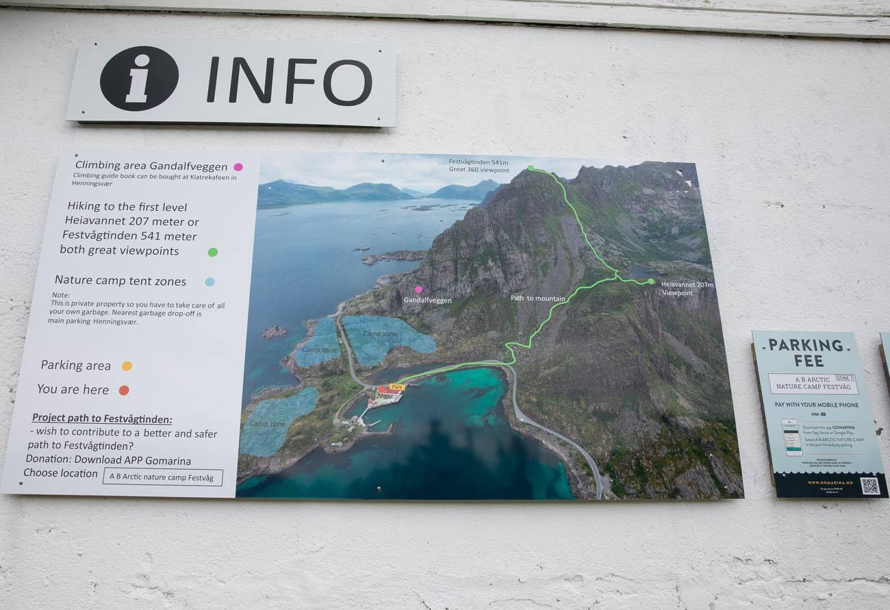 Festvagtind Hiking Sign