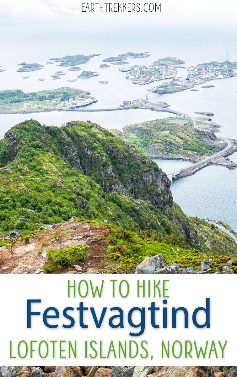 How to hike Festvagtind near Henningsvaer, Lofoten Islands, Norway. #festvagtind #hiking #norway #lofoten #adventuretravel