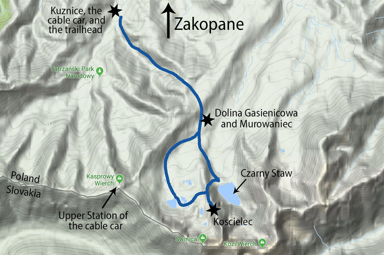 Map of Koscielec Hike