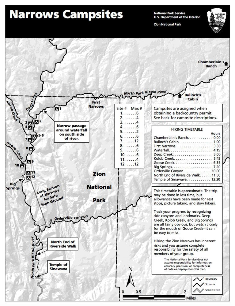 NPS Zion Narrows map | Earth Trekkers Zion Map on