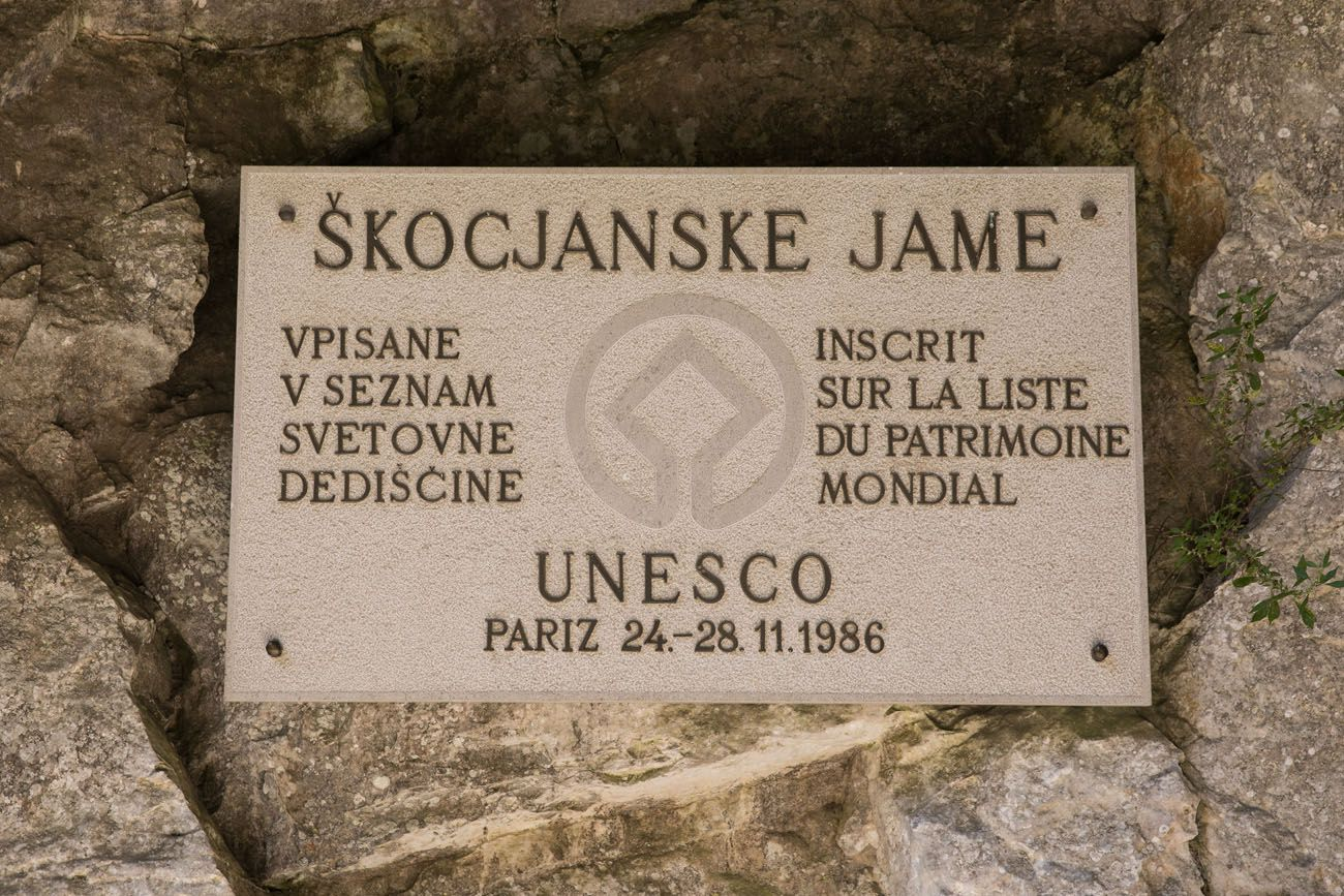Skocjan UNESCO Sign