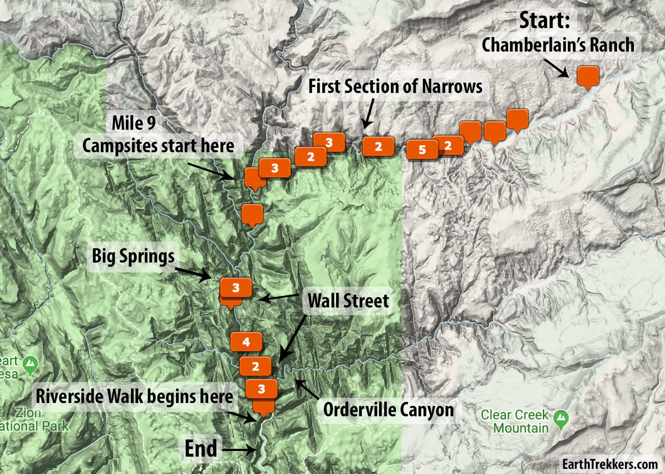 Zion Narrows Map
