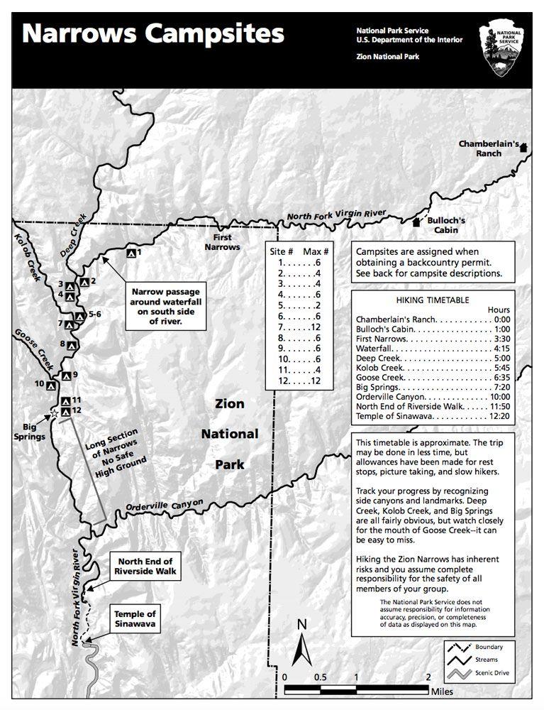 Zion Narrows map NPS