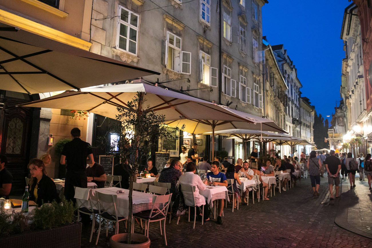 Ljubljana Cafes at Night