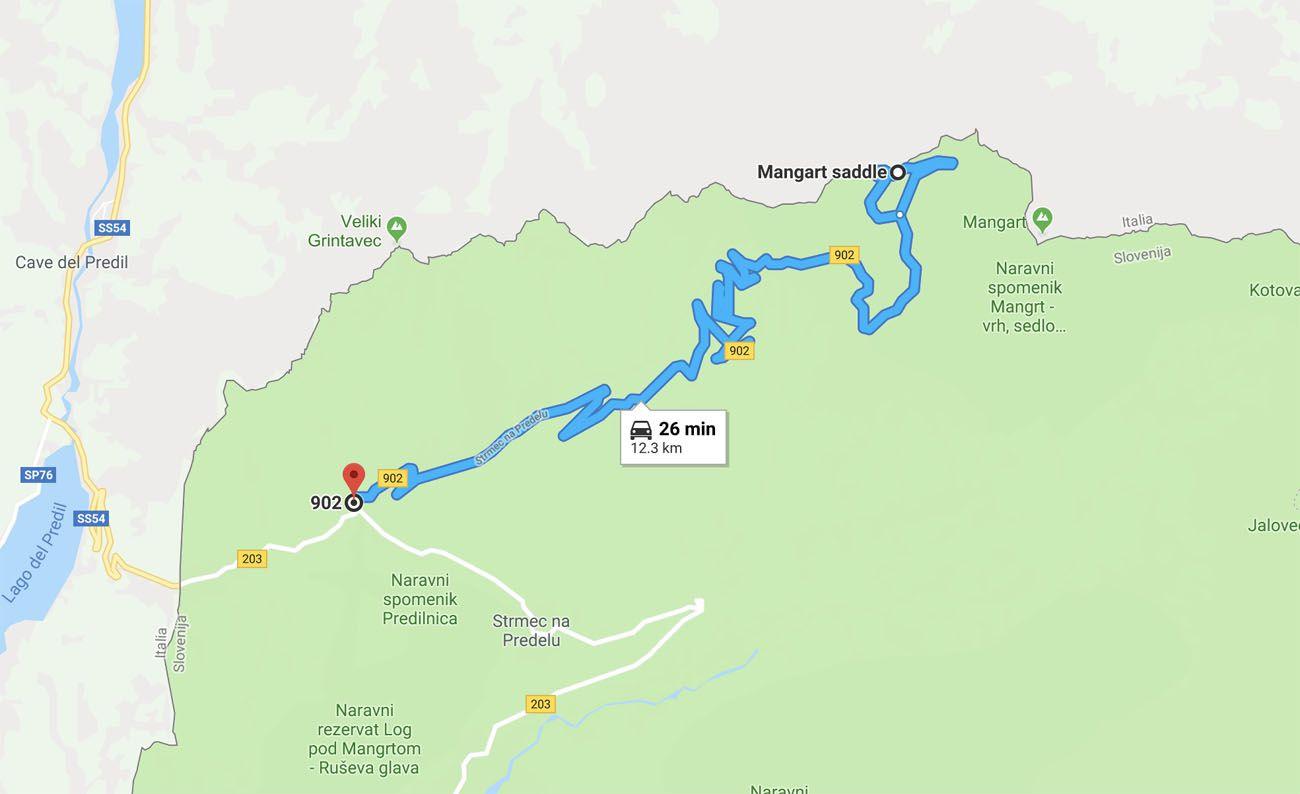 Mangart Saddle Map