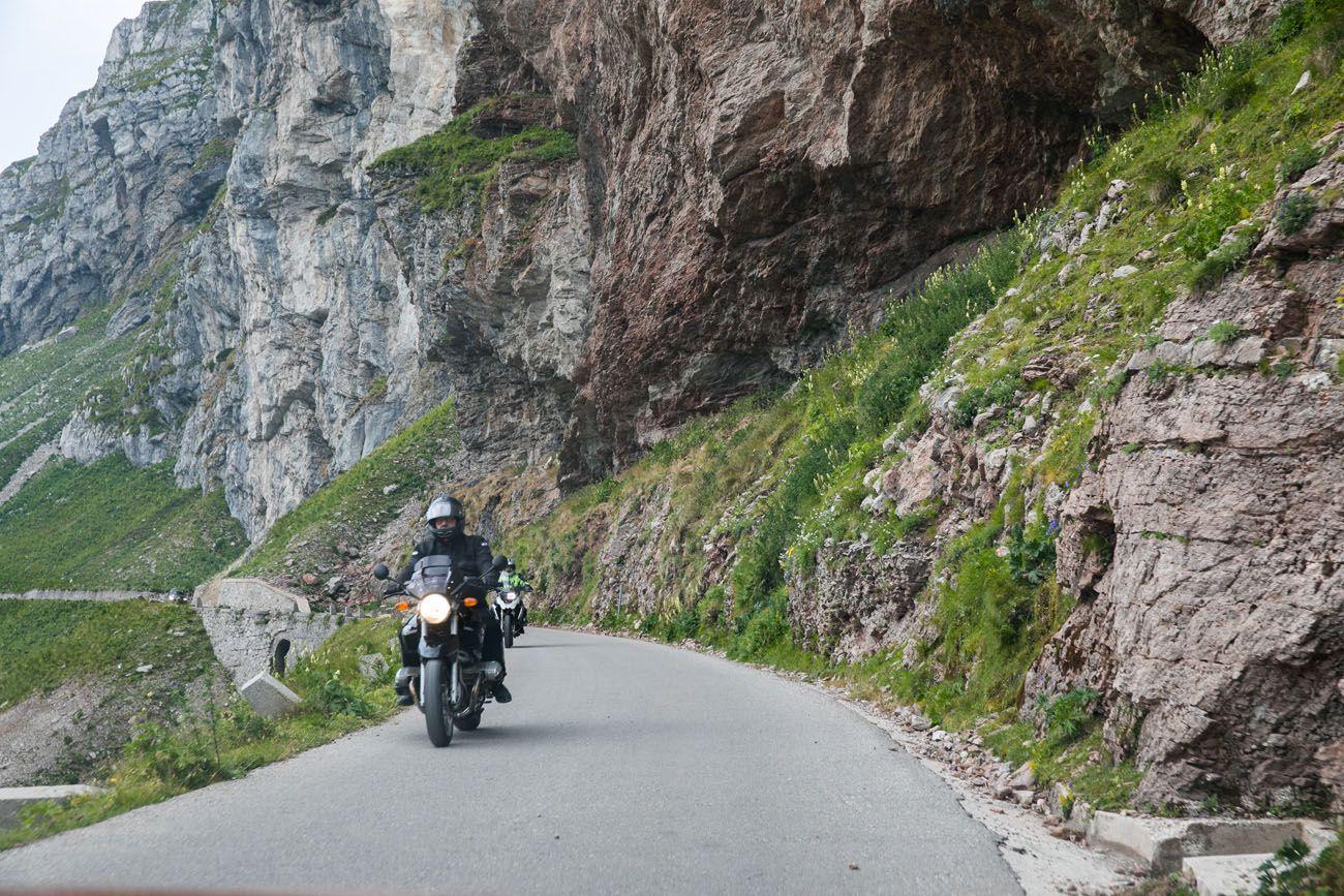 Motorcycles on Mangart Saddle