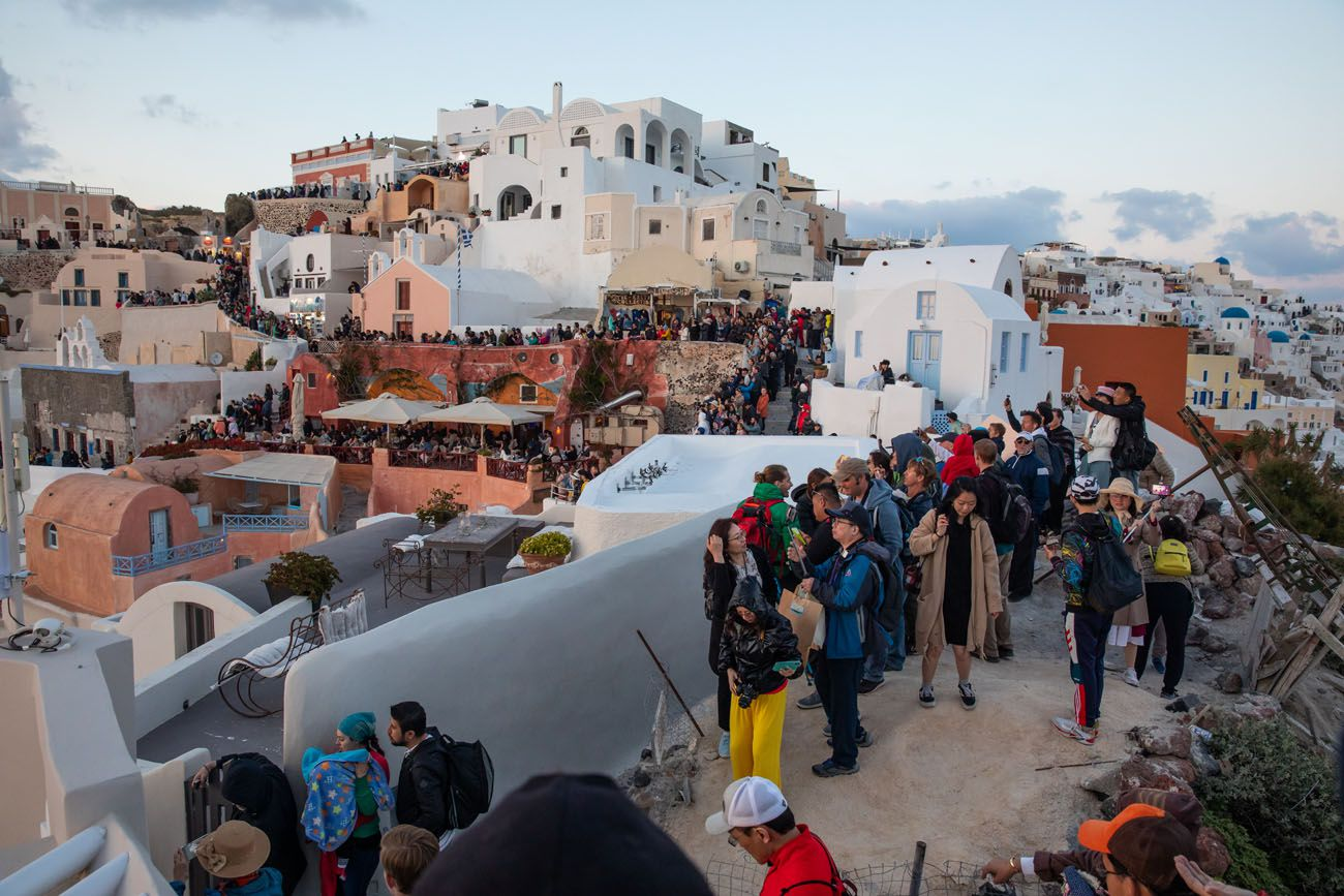 Oia Sunset Crowds
