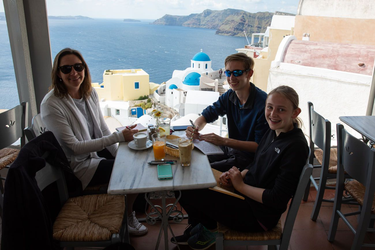 At a Cafe in Oia